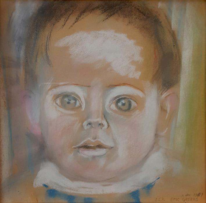 Eric Geskes - 24,5 x 25,5 cm, pastel - E.E.R. Eric Geskes 6 dec. 1987, rechtsonder