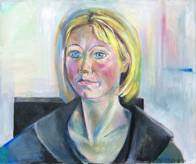 Erna Brummer-Edel - acryl/linnen 50x60 cm - E. Eskes-Rietveld 9 '91; rechtsonder