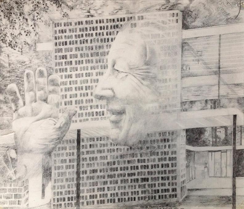 Gerrit Rietveld - potloodtekening 39x45 cm - Voor de kinderen en kleinkinderen van G Th Rietveld 25 Juni 1964; rechtsonder
