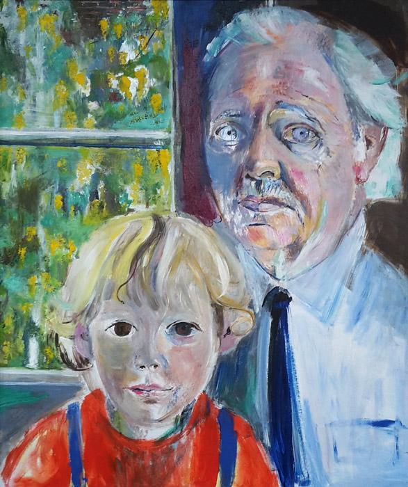 Hein met Steven - acryl/masonite, 48x59 cm - ongesigneerd-1988