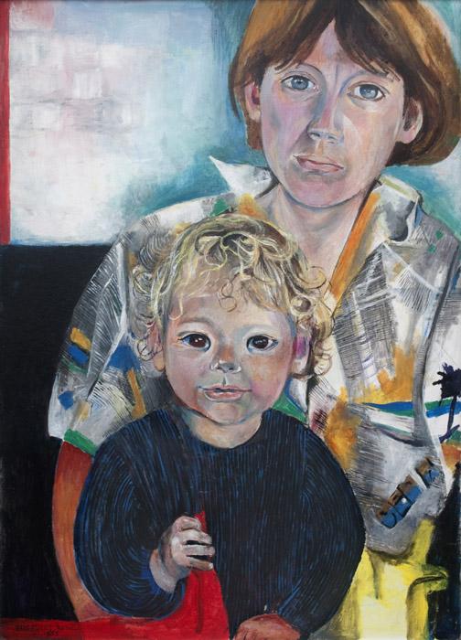 Mieke Rietveld met Bastiaan Tichler - acryl/masonite 72x52 cm - Elis. Eskes. Rietveld okt. 1985; linksonder