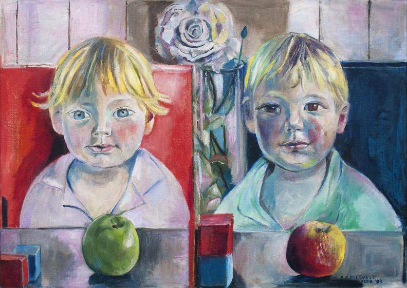 Marieke en Diederik Tichler - olie/doek, 50x70 cm - E.E. Rietveld febr. '93; rechtsonder