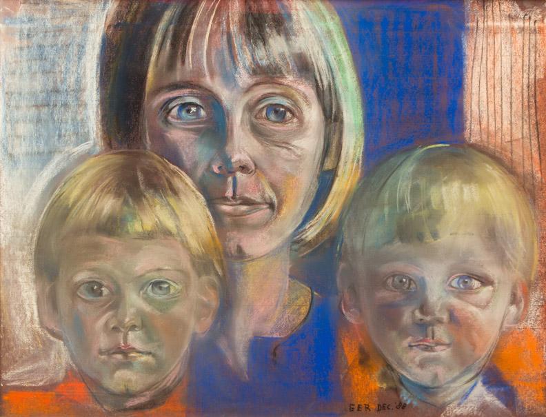Jaqueline met David en Michel - pastel 52 x 68 cm - EER DEC.'88; rechtsonder