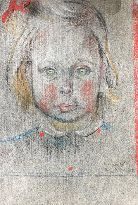 Margootje Schröder - pastel 17x 22cm - Margootje B.R. 21 ? 1947; rechtsonder