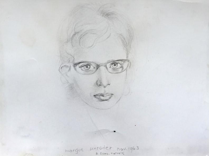 Margot Pezarro-Schröder - potlood/papier 22,5x17,5 cm - margot schröder nov. 1963 B. Eskes-rietveld; middenonder