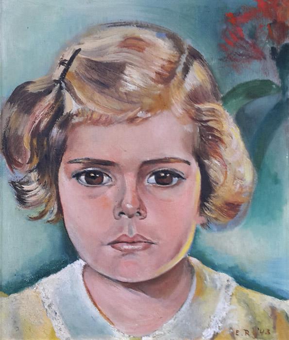 Marijke van Houtrijve, 26x31 cm, olie/hout, E.R. '43, rechtsonder. Het portret van Marijke (gedateerd 1943) werd nog vóór het kamp, bij haar thuis geschilderd. Ze herinnert zich dat ze een hekel had aan het gele jurkje. Marijke zat als klein meisje waarschijnlijk in de kampen Tjideng, Kramat en Kampong Makassar met haar moeder en broer, totdat deze in september 1944 naar een jongenskamp moest.