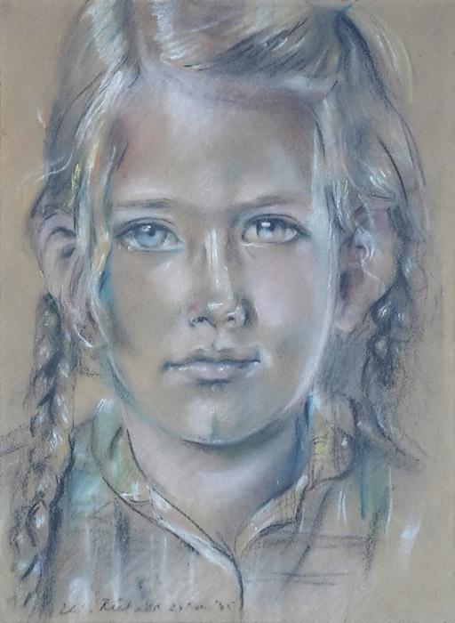 Marjolene Cohen Tervaert - pastel/papier 22,5x30 cm - Eli. Rietveld 24 Feb. '45; linksonder