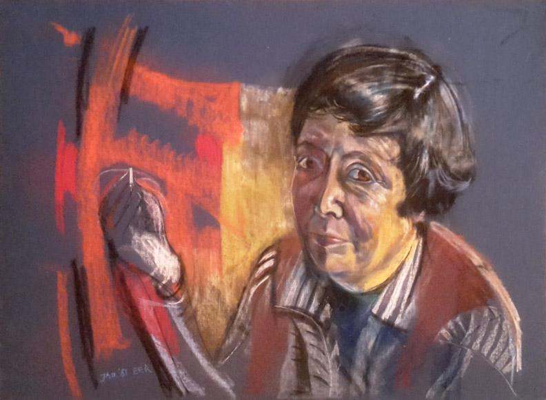 Meike Waworoentoe - 100 x 68 cm, pastel op papier -  Jan. '81 EER, linksonder