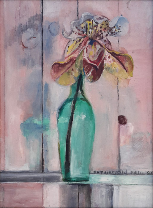 'Orchidee'  - Acryl?olie?/doek, 24.5x34 cm - bep rietveld febr '97; rechtsonder