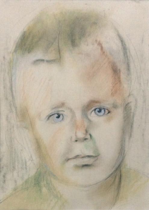 Reynier Schröder - pastel/papier, 25x35 cm - onderdeel van een dubbelportret met broer Maarten Schröder 15-12-1945. De twee portretten van Maarten en Reynier Schröder maken oorspronkelijk deel uit van een dubbelportret dat in tweeën werd geknipt. Het portret werd in grote haast gemaakt omdat de jongens met hun vader met het vliegtuig naar Australië zouden vertrekken. Daar was ook hun moeder, die al eerder met hun zieke zusje was vertrokken.