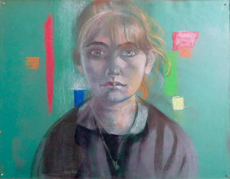 Roberta Aiello - pastel op groen papier - 64,5 x 50 cm -  Juni 1983 E Eskes-Rietveld; rechtsonder
