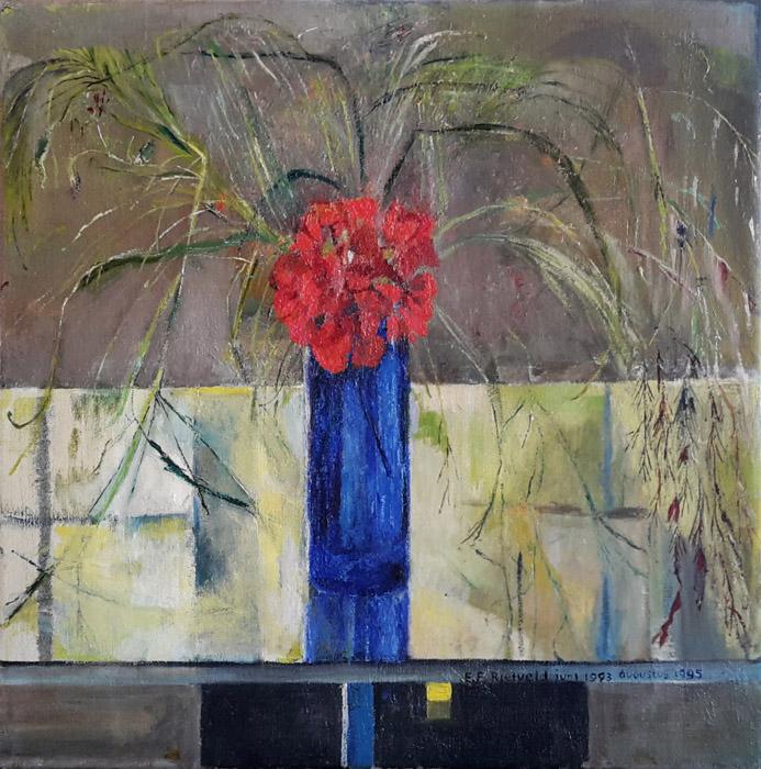 'Rode geranium met grasjes op Schrödertafeltje' - acryl op doek, 50x50 cm  - E.E. Rietveld juni 1993 augustus 1995 (rechtsonder)