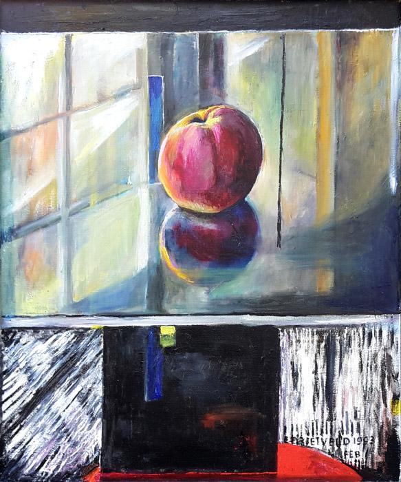 'Schrödertafeltje met appel' - olie/doek 49x59 cm - EE Rietveld 1993 Feb; rechtsonder