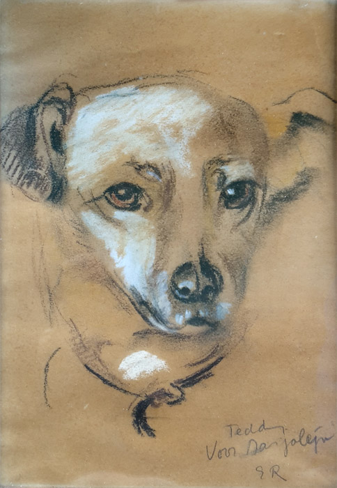 Teddy van familie Vermeulen - pastel/papier 15x22 cm - Teddy voor Marjolijn ER; rechtsonder