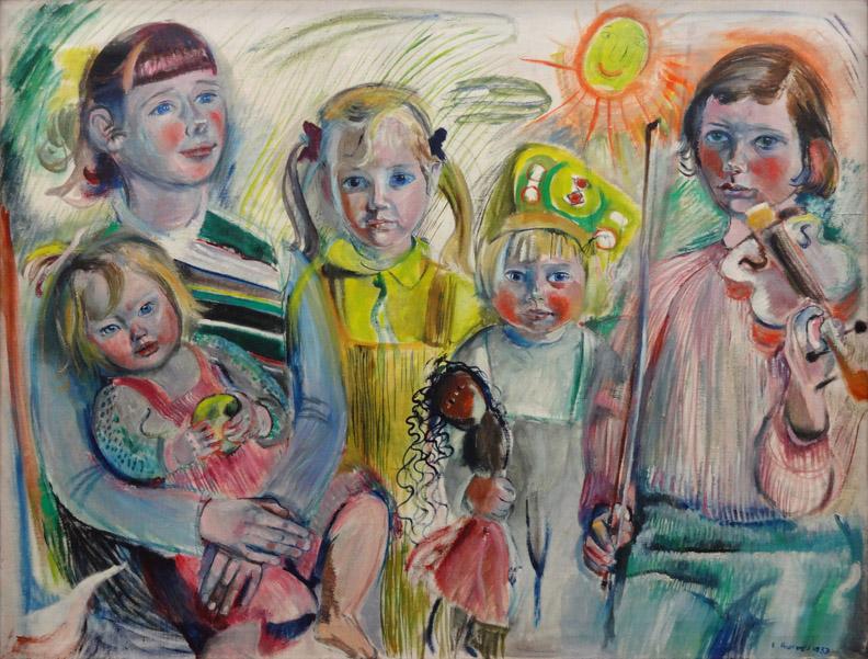 De vijf dochters - olie/doek 100x130 cm - E. Rietveld, 1953, rechtsonder