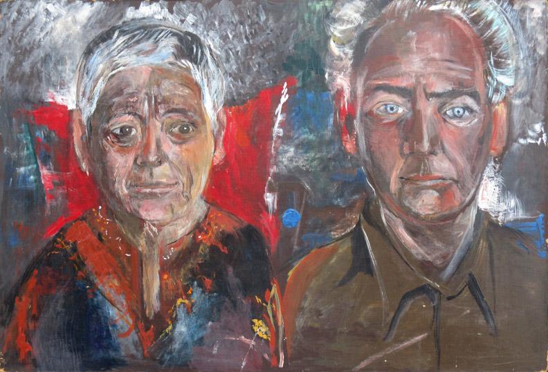 Wilhelmina en Chris Schouten - Acryl/masonite 63,9 x 45,1 cm - ongesigneerd