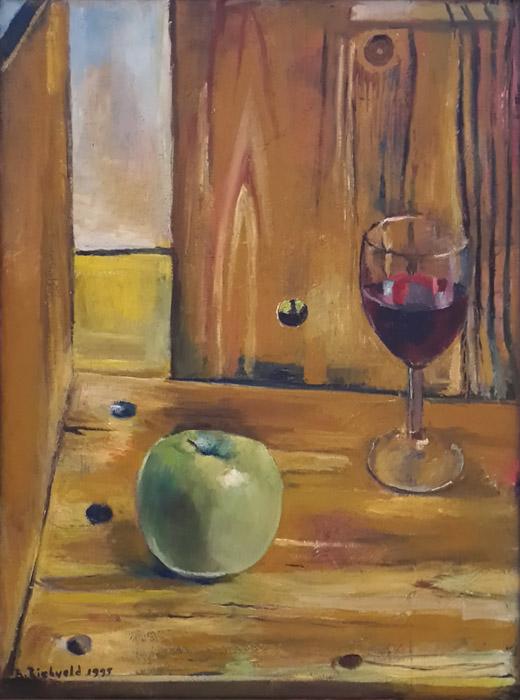 'Twee zigzagstoelen met appel en glas wijn' - acryl?olie?/doek, 32.5x43.5 cm - B. Rietveld 1995; linksonder