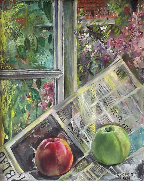 'Krant en appels voor open raam' - acryl?/masonite 50x40cm - B. Eskes-R. aug 1991; rechtsonder