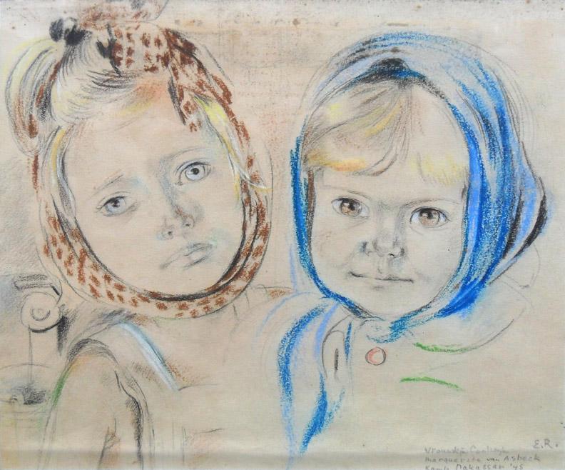 De bof - potlood en pastel/papier – 16x19 cm - Vrouwkje Coolwijk en Marguerite van Asbeck Kampong Makassar '45 E.R.; rechtsonder