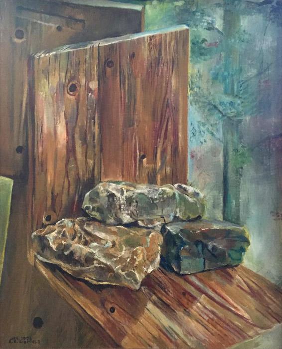 'reis naar de Ardeche' - 50x60 cm, acryl op doek - linksonder okt. 1993 E.E. Rietveld