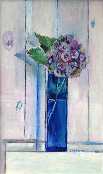 'Blauw vaasje met hortensia' - acryl? 22x32 cm - E. E. Rietveld juli 1995; rechtsonder
