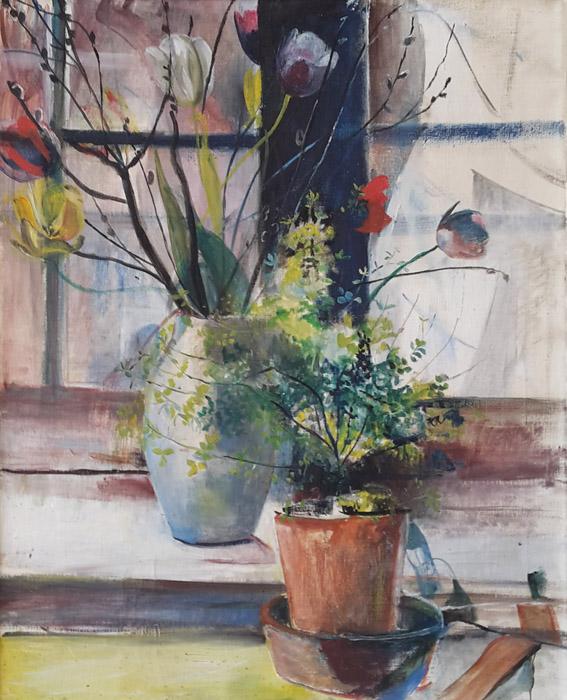 Vaas met voorjaarsboeket en plantje - olie op doek, 50x58 cm. Ongesigneerd, ongedateerd, waarschijnlijk ± 1955