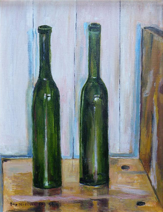 zigzagstoel met wijnflesjes - 44 x 34 cm - acryl op doek - Bep Rietveld feb. '96., linksonder