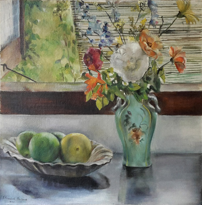 Bloemenvaas en schaal met vruchten - olie/doek 49,5 x 51,5 cm - Elisabeth Rietveld 1941; linksonder