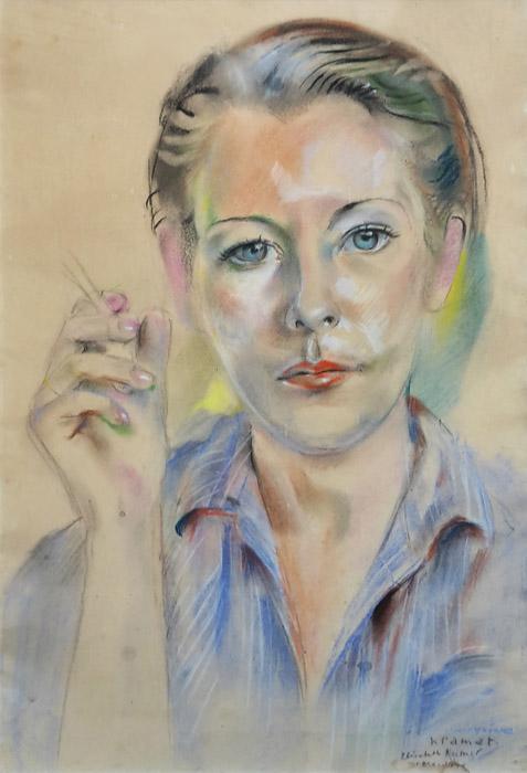 Portret van Yvonne Adelaide Labouchere - pastel - 32x48,5cm  - voor Yvonne Kramat Elisabeth Rietveld ... 1944; rechtsonder. In dit portret van Yvonne Labouchere herken je niets van 'het kamp'. Bep maakte haar geportretteerden vaak mooier, alsof ze zo hun gevoel van trots en eigenwaarde een zetje wilde geven.