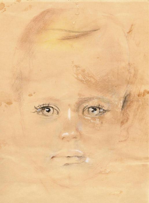 "Jantje Hogenkamp in Jappenkamp - pastel/papier 18x25 cm - schets van ""Jantje"" Elisabeth Rietveld; linksonder"