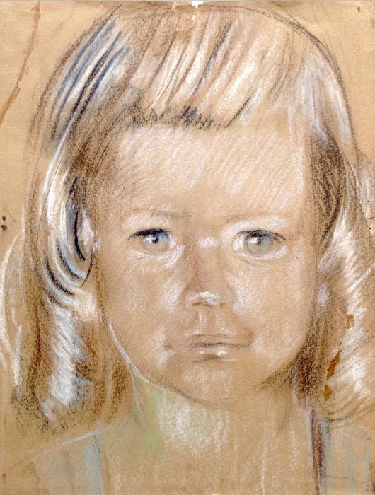 Edje Kruis in Jappenkamp ong.1945, pastel/bruin pakpapier, 23x29 cm - ongesigneerd. Edje Kruis was drie maanden toen zijn moeder met hem de beschermde wijk in ging. Later vertelde zijn moeder dat ze een 'echte kunstenares' gevraagd had om een portretje te maken omdat ze geen enkele babyfoto van Ed had. Het portretje, getekend op pakpapier, heeft altijd bij Edjes ouders op de slaapkamer gehangen, daarna had Ed het en nu, na zijn overlijden, hangt het bij zijn jongere, na de oorlog geboren zus in huis.