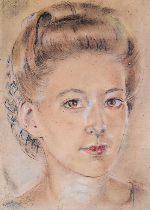 Sophie Sietinga in kampong Makassar - pastel/papier, 20x28 cm - Elisabeth R juni '45; linksonder