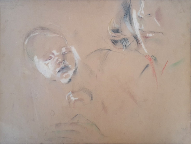 Anne Marie Noppen en haar moeder Vrouwgien (Tutti) Rietveld – pastel/papier 50x36,5 cm – Elisabeth Rietveld Anne Marie Aug. 1946 10 dagen oud; linksboven.