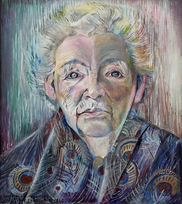 Annie Smedes - acryl/masonite 40x50 cm - tante Annie okt. 1986 E. Eskes-Rietveld.; linksonder.