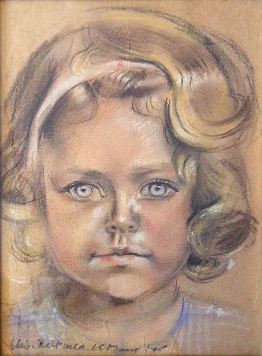Sylvia van den Honert in kamp Kota Paris  – pastel/papier20x27,5 cm – Elis. Rietveld 15 maart '45; linksonder.