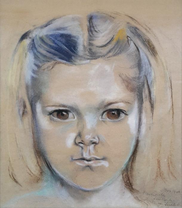 Marguerite van Asbeck – pastel 23x26 cm – Nov. 1946 Marguerite voor Henk van Elisabeth; rechtsonder