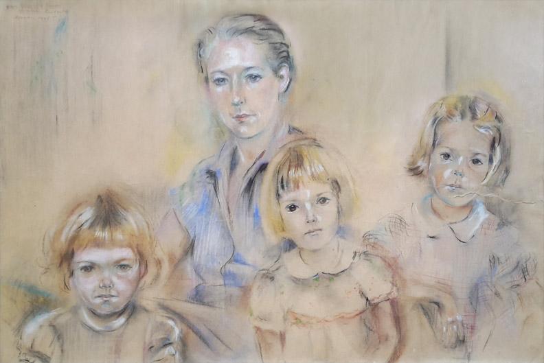 Yvonne Labouchere met haar kinderen Marguerite, Cornelie en Hanneloes van Asbeck in kampong Makassar–pastel 48,5x32 cm – Voor Yvonne's moeder Elisabeth Rietveld November 1945; linksboven