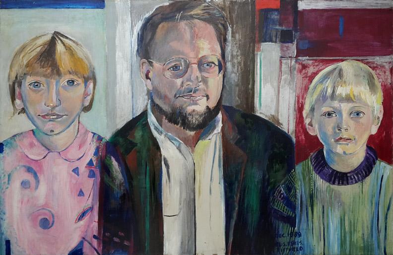 Peter Tonneijck met zijn kinderen Annemarieke en Johan – acryl/masonite 60x90 cm- DEC. 1989 ELIS. ESKES-RIETVELD; rechtsonder