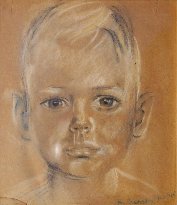 Ceel Navest in Jappenkamp, pastel 22x25cm – Elis. Rietveld Jan '45; rechtsonder. Ceel Navest verbleef met zijn moeder, broertje, oma en tante in kampen in Tjimahi (Tjihapit,) en in Batavia (Kramat, Grogol en Tjideng). Zijn oma heeft het portretje laten maken toen Ceel eens heel erg ziek was in het kamp en voor zijn leven werd gevreesd.