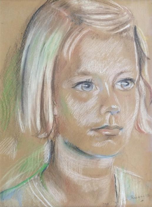 Marleen van Kuijk - pastel 22,5x31 cm – oct. '44 Elis. Rietveld, rechtsonder