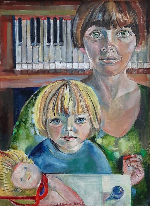Anneke Schulz en dochter Cato van Paddenburgh- olie/doek 70x49 cm- E.E.R. Rietveld 8.1992; midden onder