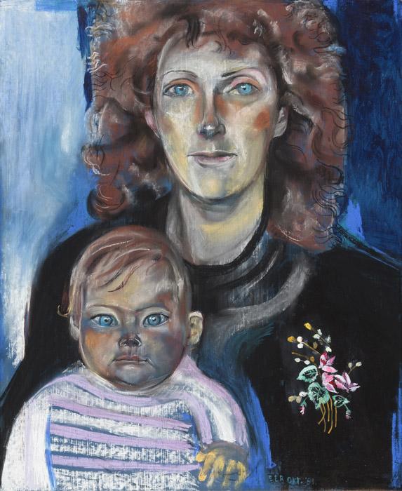 Fokje Duursma met babydochtertje – pastel/masonite 56 x 68 cm – EER okt. '81; rechtsonder. Foto: Charline Goud