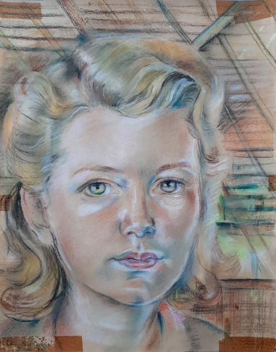 Deetje Hofman – pastel/papier 33x26cm – Elis Rietveld Januari '45; linksonder