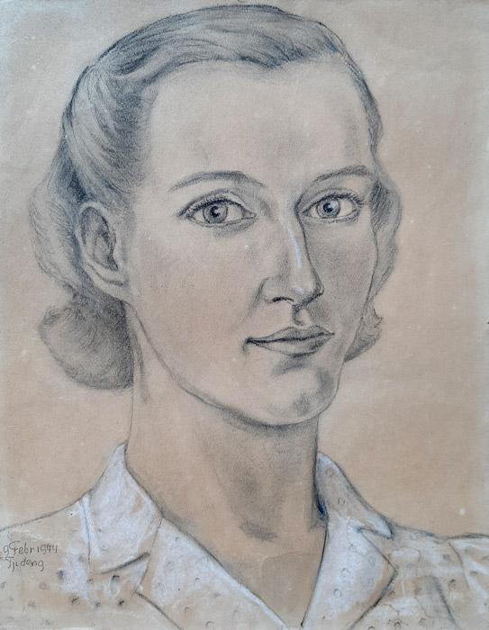 Maria Sarlie-Backx – pastel/papier 25x32 cm – geen signering, opschrift 9 Febr 1944 Tjideng; linksonder