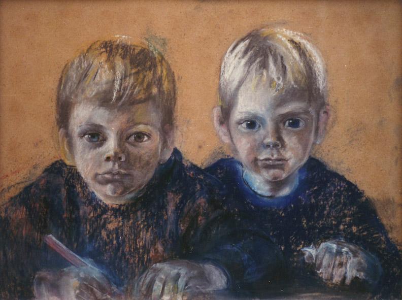 Ries en Otto-Jan Seijler - pastel 49x65 cm - ongesigneerd ±1971