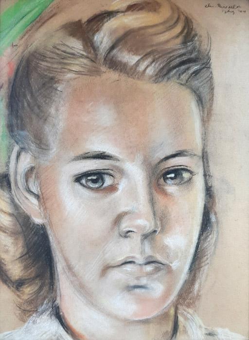 Miep Hennephof - Renooy – pastel 24x32 cm – elis. Rietveld 17 Aug '44; rechtsboven